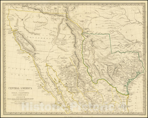 Historic Map : Central America II. Including Texas, California and the Northern States of Mexico, 1842 v2, Vintage Wall Art