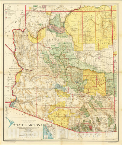 Historic Map : State of Arizona Compiled chiefly from the Official Records of the General Land Office with supplemental data from other map making agencies, 1921, 1921, Vintage Wall Art