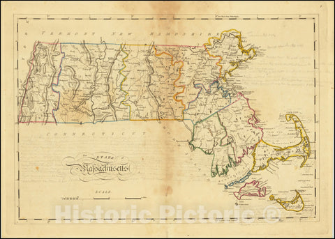 Historic Map : The State of Massachusetts, 1814, Vintage Wall Art