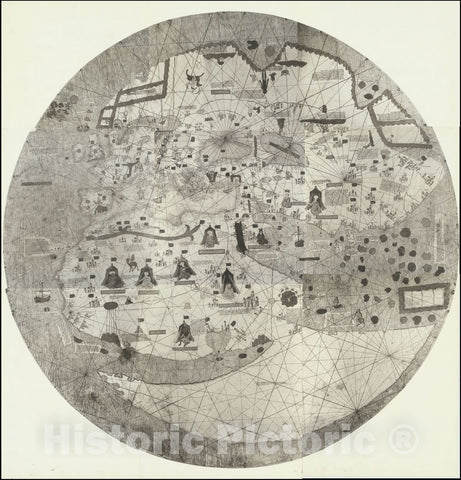 Historic Map : The Catalan-Estense World Map, 1450 -1460 (but 1890), Vintage Wall Art