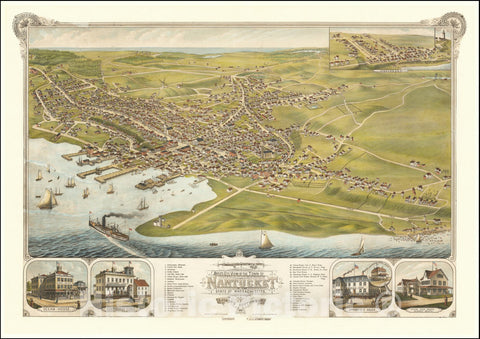 Historic Map : Bird's Eye View of the Town of Nantucket State of Massachusetts.Looking Southwest.1881., 1881, Vintage Wall Art