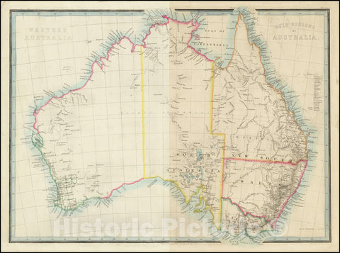 Historic Map : Gold Regions of Australia , and,1851, Vintage Wall Art