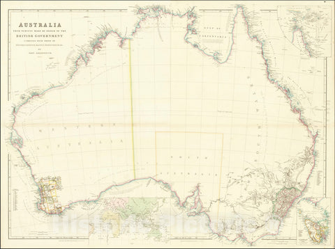 Historic Map : Australia From Surveys Made By Order of the British Government Combined with those of D'Entrecasteaux, Baudin, Freycinet &c.&c. By John Arrowsmith. 1840, 1840, Vintage Wall Art