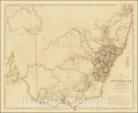 Historic Map : The South Eastern Portion of Australia, compiled from the Colonial Surveys, And From Details Furnished By Exploratory Expeditions. by John Arrowsmith, 1842, Vintage Wall Art