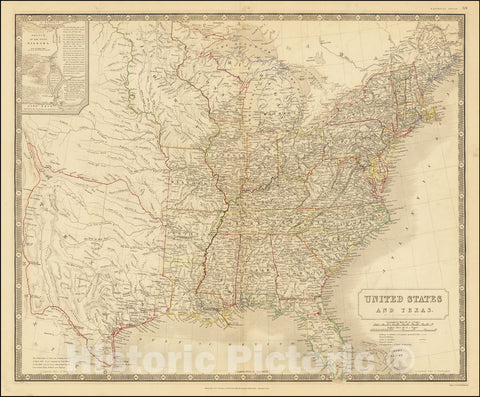 Historic Map : Shows Republic of Texas,United States and Texas, 1845 v1, Vintage Wall Art