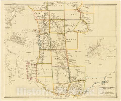 Historic Map : The Colony of Western Australia;From The Surveys of John Septimus Roe Esqr. Surveyor Genl. And from other Official Documents in the Colonial Office and Admiralty, 1839, 1843, Vintage Wall Art