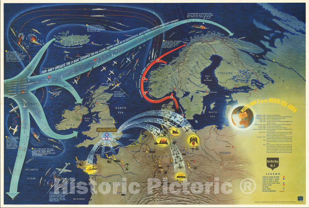 Historic Map : World War II in the North Sea Area, 1944, Vintage Wall Art