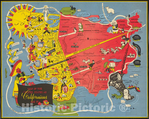 Historic Map : United States as Californians See It., 1947 v1, Vintage Wall Art