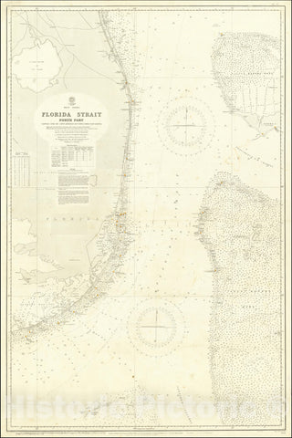 Historic Map : South Florida, Bahamas,Florida Strait North Part Compiled from the Latest Admiralty and United States Coast Surveys,1877 (updates to 1927), Vintage Wall Art