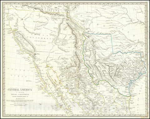 Historic Map : Central America II. Including Texas, California and the Northern States of Mexico, 1842 v1, Vintage Wall Art