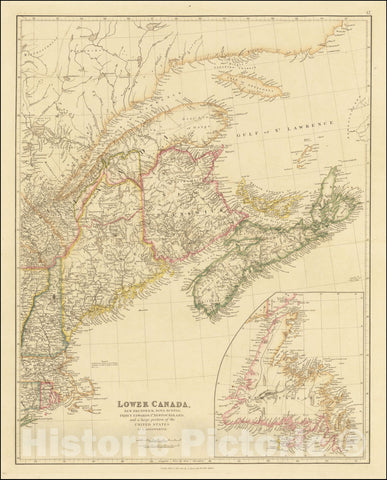 Historic Map : Lower Canada, New Brunswick, Nova Scotia, Prince Edward Id., Newfoundland, and a large portion of the United States, 1842, Vintage Wall Art
