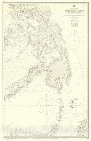 Historic Map : Philippine Islands and Adjacent Seas From Molucca To Manila Bay From The United States & Netherlands Government Charts To 1929.With Corrections to 1946,1946 (1965), Vintage Wall Art