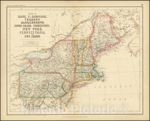 Historic Map : States of Maine, N. Hampshire, Vermont, Massachusettes, Rhode Island, Connecticut, New York, Pennsylvania, and New Jersey, 1857, Vintage Wall Art