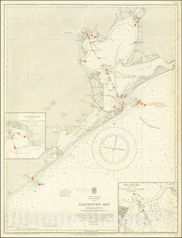 Historic Map : Galveston Bay and Parts Adjacent from the United States Government Charts to 1914, 1862, Vintage Wall Art