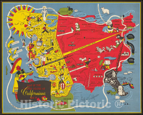 Historic Map : United States as Californians See It., 1947 v2, Vintage Wall Art