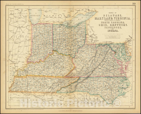 Historic Map : States of Delaware, Maryland, Virginia,  with District of Columbia, 1857, Vintage Wall Art