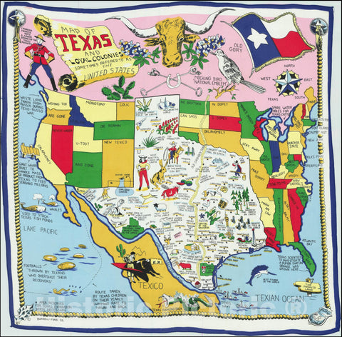 Historic Map : Printed on Linen,Map of Texas and Loyal Colonies Sometimes Referred To As The United States, 1960, Vintage Wall Art