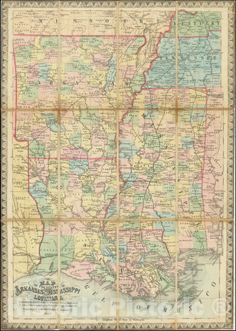 Historic Map : States of Arkansas Mississippi and Louisiana Exhibiting the Counties, Cities & Villages; Rivers, Rail ways, & Common Roads including the Forts, Landings, Stations &c., 1862, Vintage Wall Art