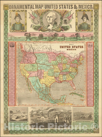 Historic Map : Ornamental United States & Mexico, 1848, 1850, Vintage Wall Art