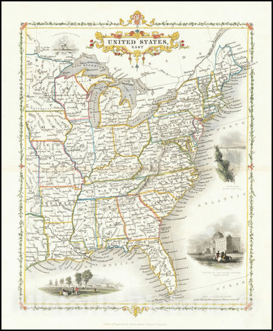 Historic Map : United States East, 1850, Vintage Wall Art