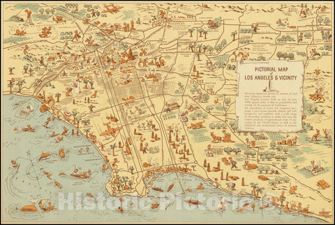 Historic Map : Pictorial Los Angeles & Vicinity - Pictorial Map Metropolitan Area - California the Golden State, 1940, Vintage Wall Art