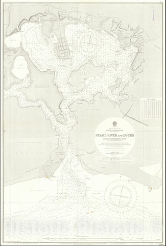Historic Map : Pearl Harbor,Pearl River and Lochs From The United States Government Plan of 1899, 1901 (1920), Vintage Wall Art