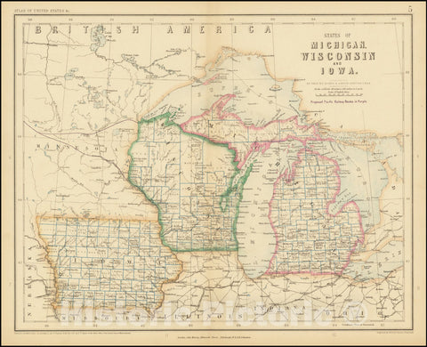 Historic Map : States of Michigan, Wisconsin, and Iowa, 1857, Vintage Wall Art