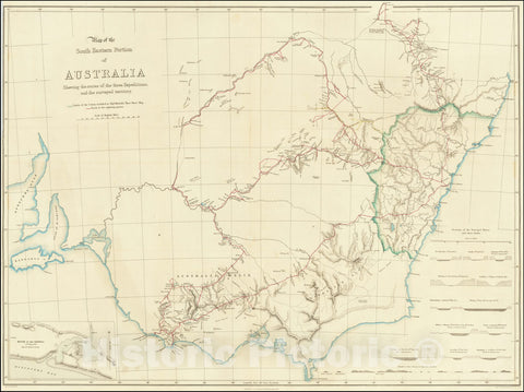 Historic Map : South Eastern Portion of Australia Shewing the routes of the three Expeditions and surveyed territory., 1838, Vintage Wall Art