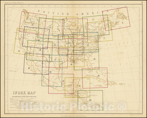 Historic Map : United States,Index Map, 1857, Vintage Wall Art