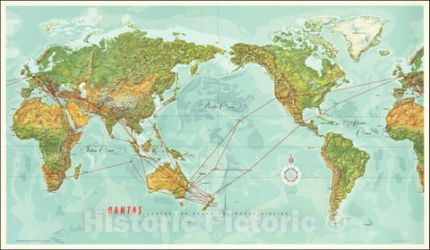 Historic Map : World,Qantas Australia's Round-The-World Airline, 1966, Vintage Wall Art