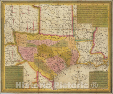 Historic Map : A New Texas, with the Contiguous American & Mexican States, 1836, 1836, Vintage Wall Art