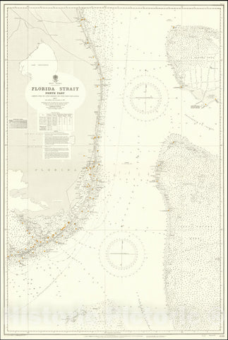Historic Map : South Florida, Bahamas,Florida Strait North Part Compiled from the Latest Admiralty and United States Coast Surveys,1877 (updates to 1938), Vintage Wall Art