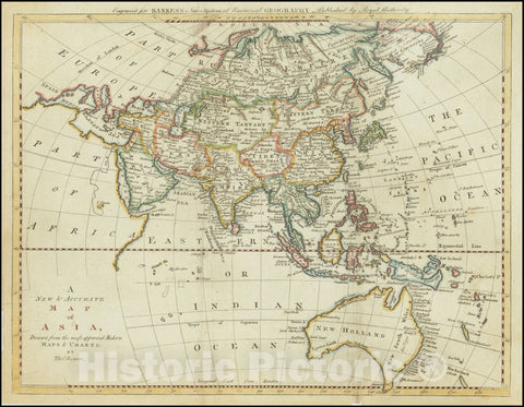 Historic Map : A New & Accurate Asia, Drawn from the most approved Modern Maps & Charts, 1779 , with Australia -- names Sea of Korea, 1779, Vintage Wall Art