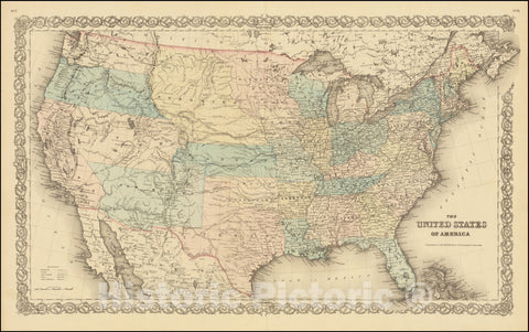 Historic Map : The United States of America, 1855, Vintage Wall Art