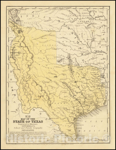 Historic Map : State of Texas, 1846, Vintage Wall Art