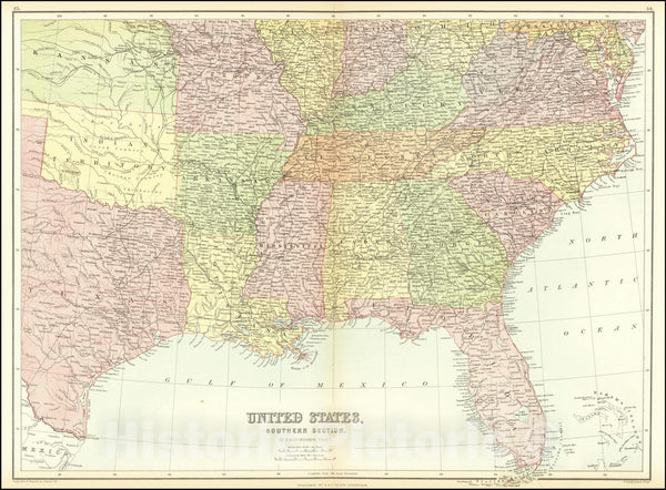 Historic Map : United States, Southern Section, 1865, Vintage Wall Art