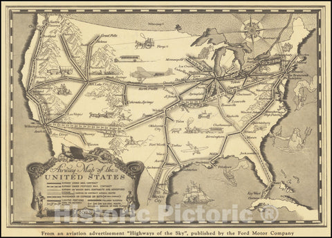 Historic Map : Airway United States, 1928, Vintage Wall Art
