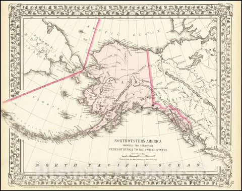 Historic Map : Northwestern America Showing The Territory Ceded By Russia To the United States, 1872, Vintage Wall Art