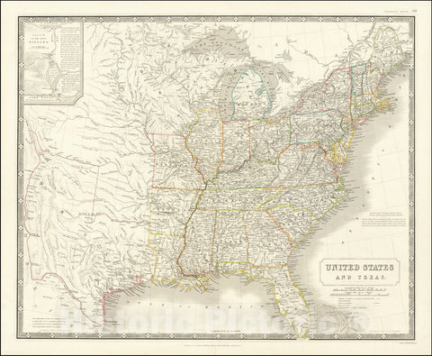 Historic Map : Shows Republic of Texas,United States and Texas, 1845 v2, Vintage Wall Art