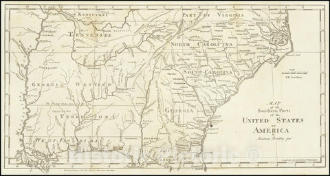 Historic Map : Southern Parts of the United States of America By Abraham Bradley Junr., 1797, Vintage Wall Art