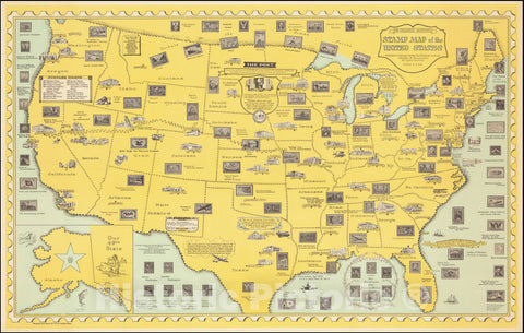 Historic Map : The Philatelic Institute's Stamp United States,  1959, Vintage Wall Art