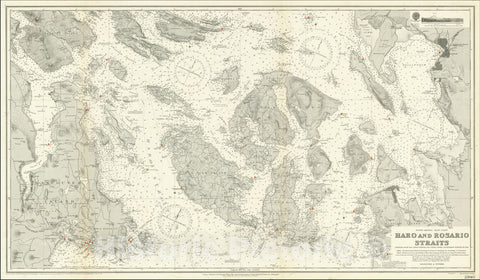 Historic Map : San Juan Islands To Bellingham and Victoria, BC,Haro and Rosario Straits Compiled From The Latest British and United States Government Surveys to 19-9,1911 (1920), Vintage Wall Art