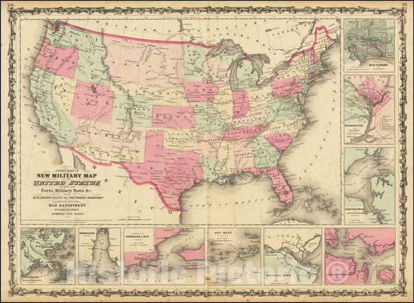 Historic Map : Johnson's New Military United States Forts, Military Posts & all the Military Divisions with Enlarged Plans of the Southern Harbors, 1862, Vintage Wall Art