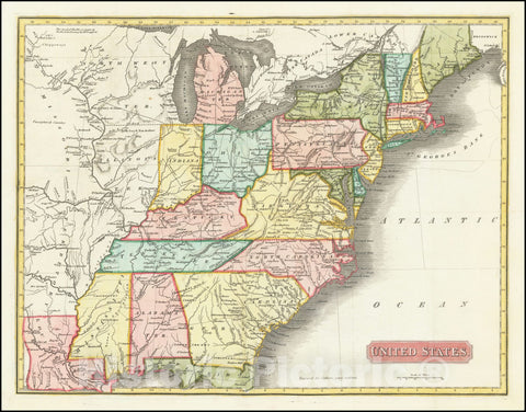 Historic Map : United States, 1819, Vintage Wall Art