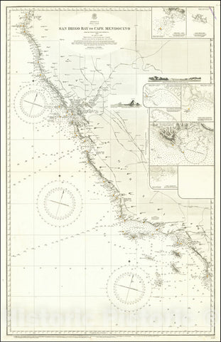 Historic Map : San Diego Bay to Cape Mendocino From United States Coast Surveys To 1885, 1858 (1897), Vintage Wall Art