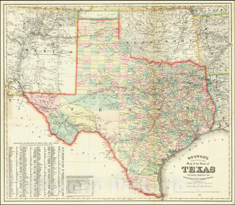 "Historic Map : Colton's ""New Medium"" State of Texas, The Indian Territory, etc. From the latest & Most Authentic Sources, 1884, 1884, Vintage Wall Art"