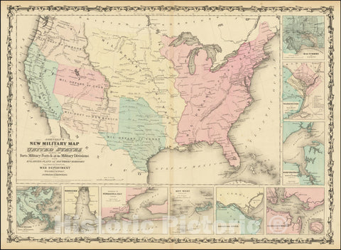 Historic Map : Johnson's New Military United States Forts, Military Posts & all the Military Divisions with Enlarged Plans of the Southern Harbors, 1861, Vintage Wall Art