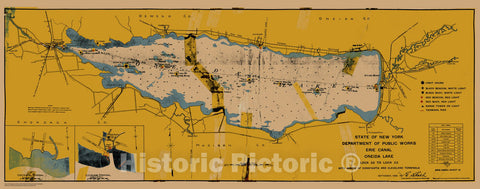 Historic Nautical Map - State Of New York Department Of Public Works Erie Canal, NY, 1923 NOAA Chart - Vintage Wall Art, v13
