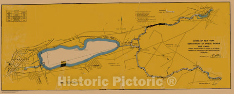 Historic Nautical Map - State Of New York Department Of Public Works Erie Canal, NY, 1923 NOAA Chart - Vintage Wall Art, v11
