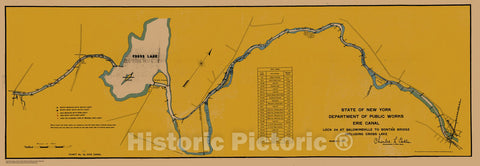 Historic Nautical Map - State Of New York Department Of Public Works Erie Canal, NY, 1917 NOAA Chart - Vintage Wall Art